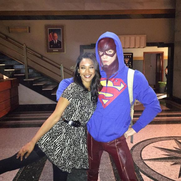 Grant Gustin and Candace Patton