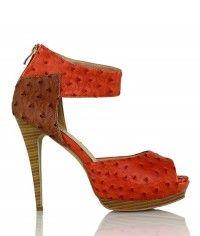 Shoes www.shoeenvy.com.au Mauritius - Women's tan orange wood-grain ostrich platform sandal high heels $129