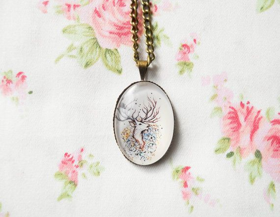 Antique Bronze Necklace, Glass Cabochon Necklace, Vintage Deer Necklace, Retro Deer Necklace, Deer Pendant, Deer Cabochon, Women Gifts