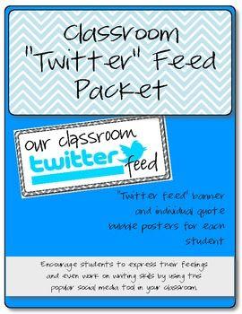 "Classroom ""Twitter Feed"" Bulletin Board Set- FREE"