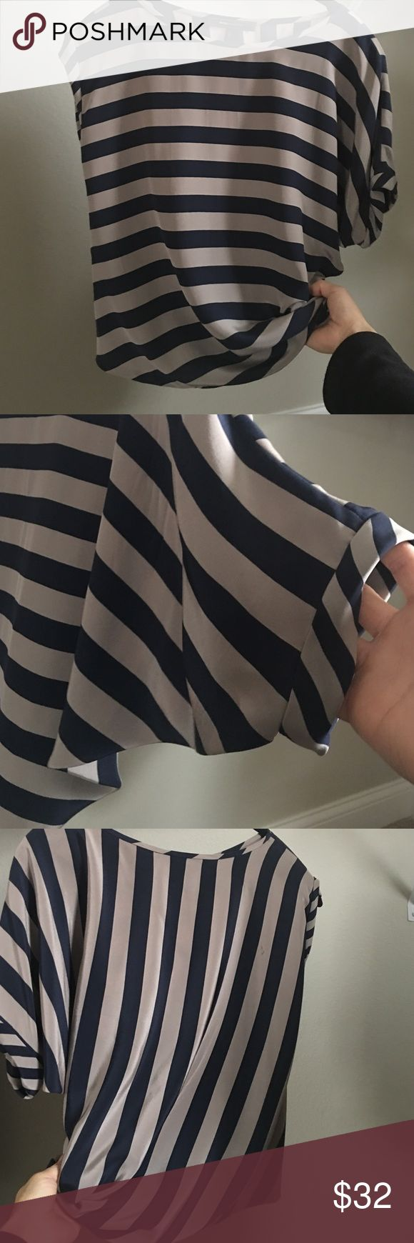 BCBGMaxAzria asymmetric top Navy and taupe stripes. Excellent condition. 100% silk. BCBGMaxAzria Tops Blouses