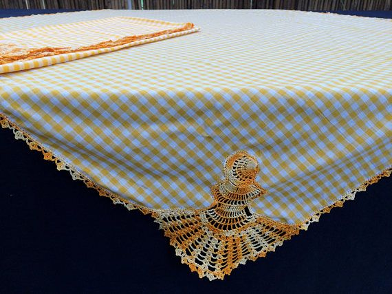 A Pair of Crochet and Linen Tablecloths. 2 Checkered Yellow and White Linen Tablecloths. 2 Small Square Shabby Chic Tablecloths.  RBT1766