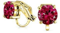 Bling Jewelry Clip On No Piercing Simulated Ruby July Birthstone Stud Earrings Gold Plated 8mm.