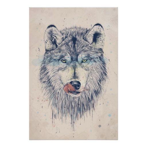 Dinner time wolf poster features a hungry wolf licking his lips in anticipation of his next meal. A great gift for people who love nature and wolves. http://www.zazzle.com/dinner_time_poster-228734247758919422?rf=238839619545589958 #animal #illustration #rustic