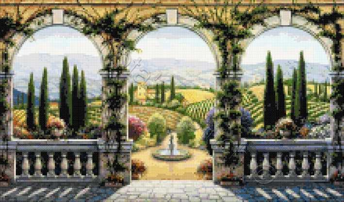 Tuscan villa cross stitch kit or pattern cross stitchs for Cross stitch wall mural
