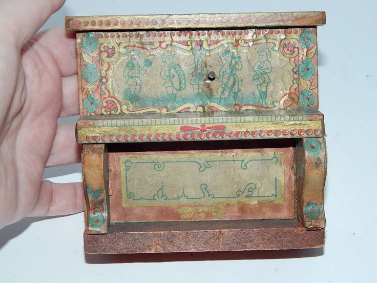 Antique Bliss Dollhouse Furniture Paper Litho On Wood Couch Piano Table  Chairs | EBay