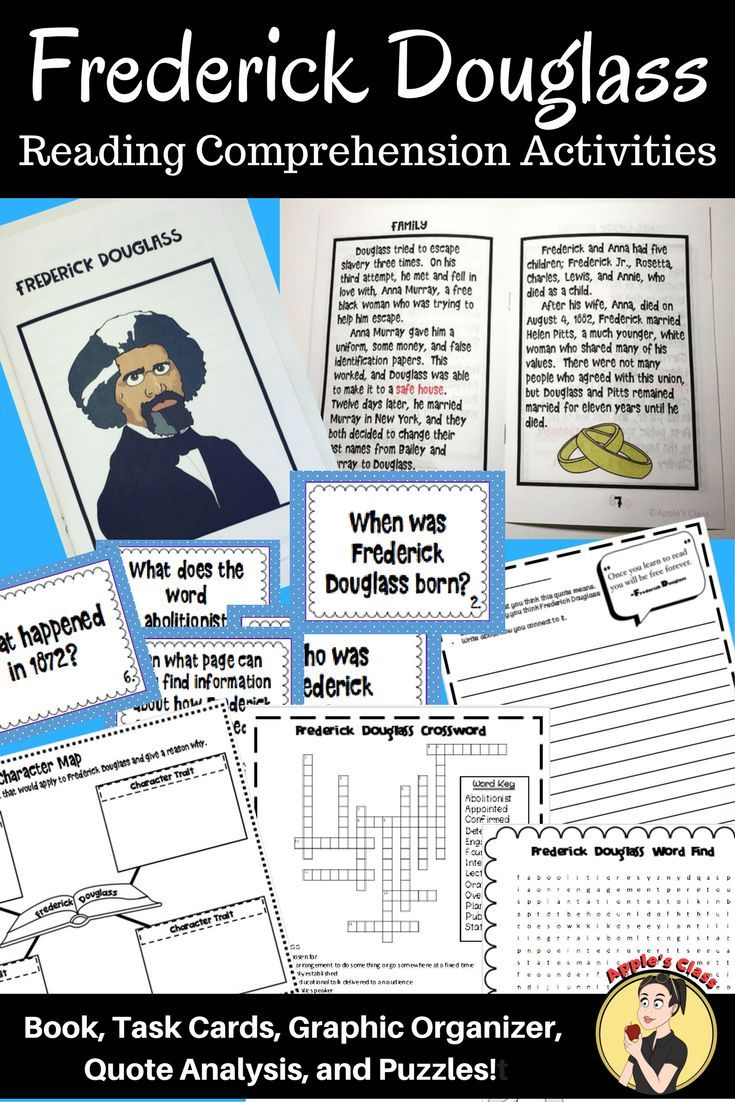 Frederick Douglass Biography Printable Book Includes Comprehension Task Cards Co Reading Comprehension Activities Comprehension Activities Frederick Douglass [ 1102 x 735 Pixel ]
