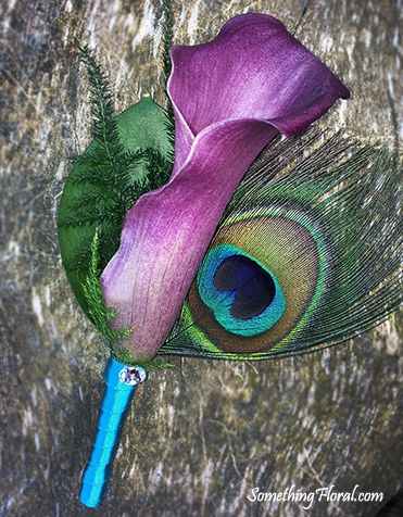 Purple calla lily and peacock feather boutonniere with turquoise ribbon stem wrap and clear crystal accent. #boutonniere #peacockfeather #callalily #purple #turquoise #peacock #feather #calla #lily
