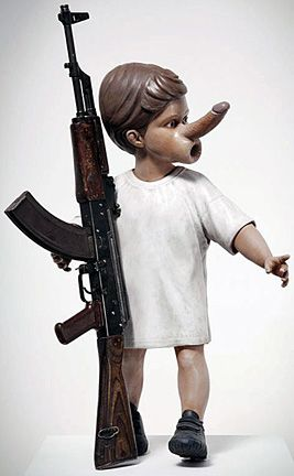Chapman Brothers - Yin (2012), painted sculpture with decommissioned Kalashnikov rifle | art-for-a-change.com