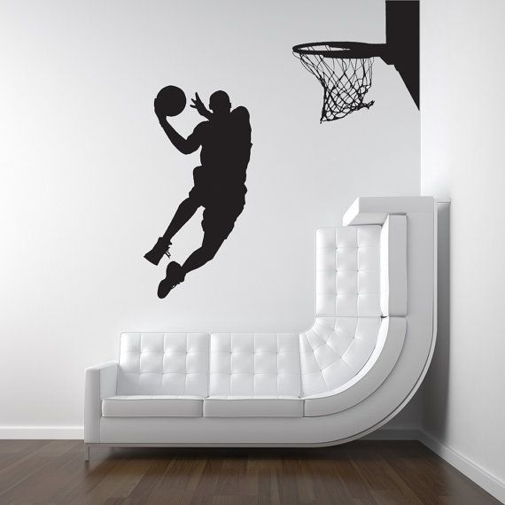 Sean's Room:  Basketball Basketball Player, Dunk, Ball, Michael Jordan - Decal, Sticker, Vinyl, Wall, Home, Kid's Bedroom Decor