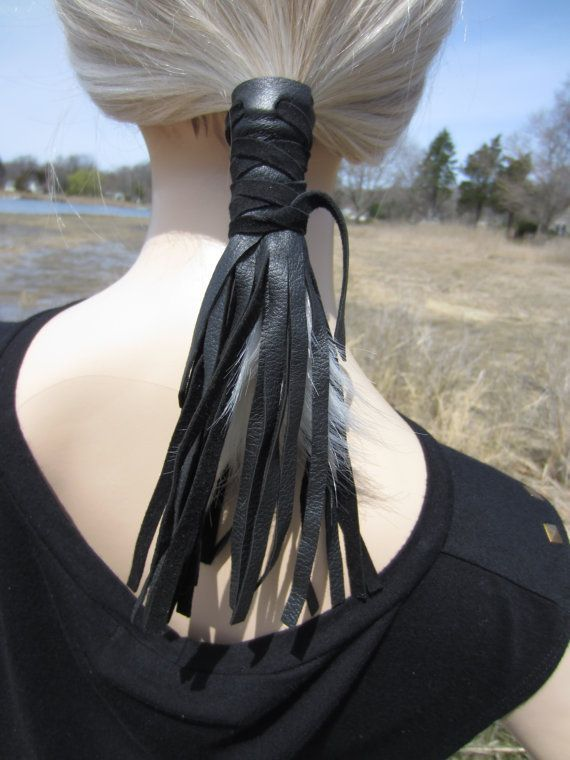 Leather Ponytail Holder Hair Wrap Extensions Black Fringe Bohemian Hair Jewelry