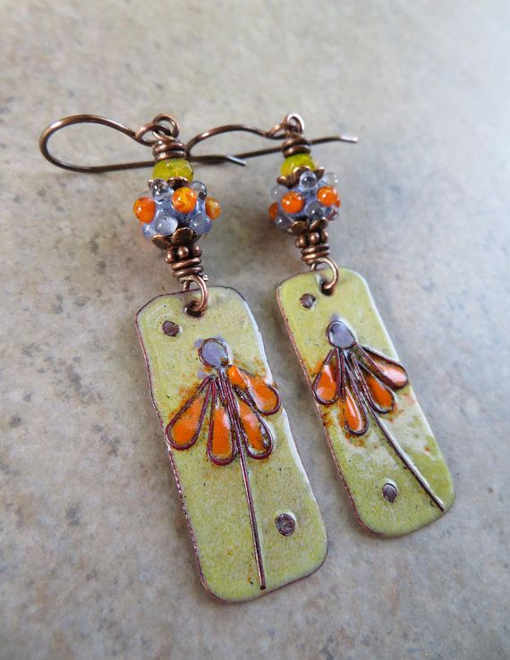 Artisan Made Polymer and Lamp Work Sun and Star Earrings