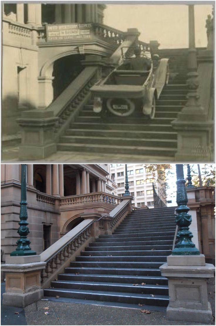 Town Hall steps on Druitt St, 1920s > 2016 [Powerhouse Museum > Kevin Sundgren. By Kevin Sundgren]