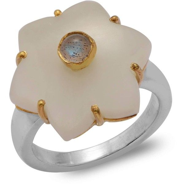 Emma Chapman Jewels - Jamila White Moonstone Ring ($195) ❤ liked on Polyvore featuring jewelry, rings, moonstone jewellery, cocktail rings, evening jewelry, white ring and white moonstone ring