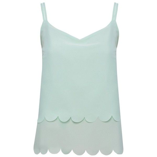 M&Co Petite Scallop Hem Cami Top (€12) ❤ liked on Polyvore featuring tops, tank tops, mint, shirts, petite, spaghetti strap tank tops, green tank, petite tank tops, green cami and petite tops