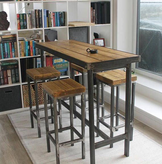 Hand Made Bespoke Modern Industrial Steel Dining Table Stools Poseur Urban Reclaimed Wood Metal Desk Rustic Breakfast Bar Cafe Restaurant