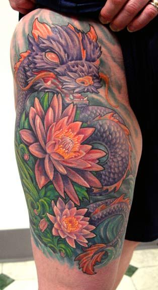 Dragon Tattoo With Flowers: Dragon And Phoenix Tattoos