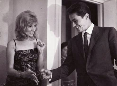 Monica Vitti and Alain Delon on the set of L'Eclisse