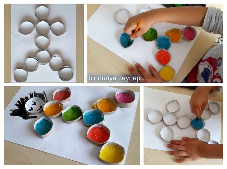 bir dünya zeynep . . .: rulolardan çocuk yapıp sulu boyayla boyadık...
