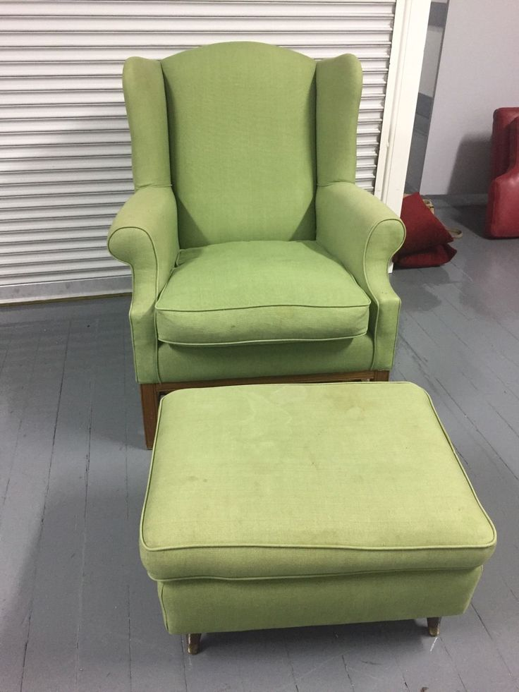 Green Upholstered Arm Chair And Foot Stool - Malvern Vic | eBay