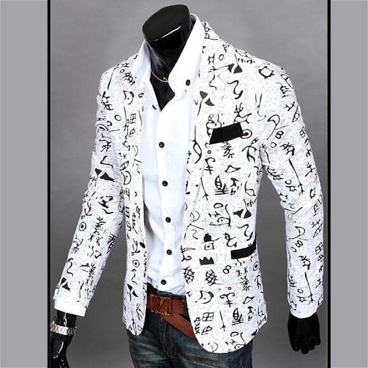 Men's Casual Blazer Cotton Blend Pattern Blazer Casual Coat - WHITE 2XL