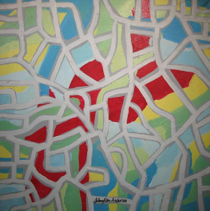 Maleri google maps 80x80 cm