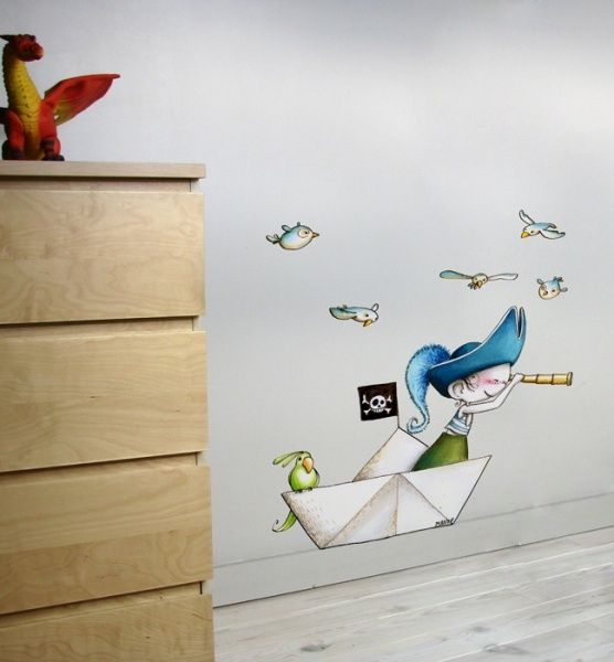 Little Pirate on a boat - Wall Decals