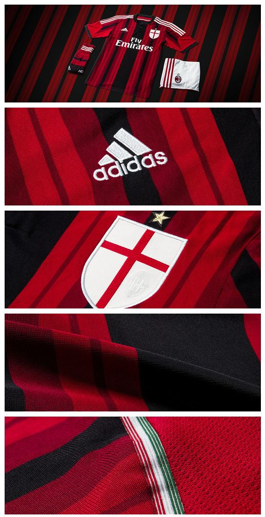 Details on the new adidas AC Milan 2014/2015 Home Jersey