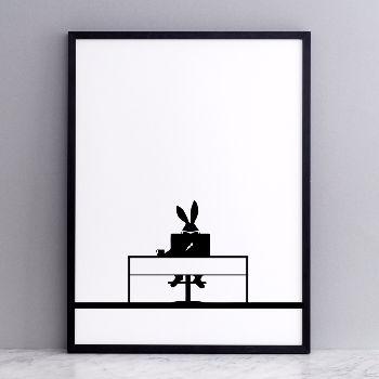 Working Rabbit Screen Print: Each HAM screen print is carefully made by hand using premium 315gm off white British paper.