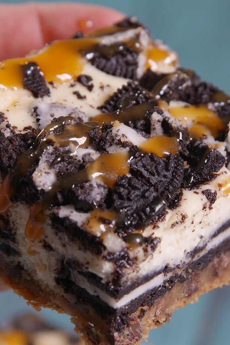 "These will definitely get around. Called ""Slutty Cheesecake Bars.  Choc chip dough, oreos, cheesecake mixture, more oreos, warm caramel.  Oh my..."