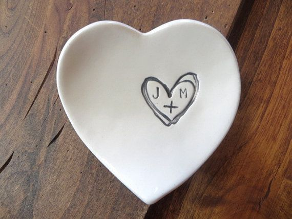 monogram ring dish, engagement ring holder,  custom ceramic  heart shaped jewelry bowl,  Black and White Pottery, Made to Order, PromisePottery, Promise Pottery