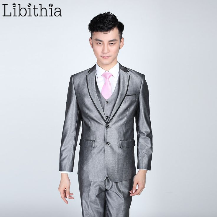 (Jacket+pant+tie) Mens Bright Grey Black Suits Men Costume Homme Slim Fit Clothing Blazer For Wedding Dresses Masculino S319