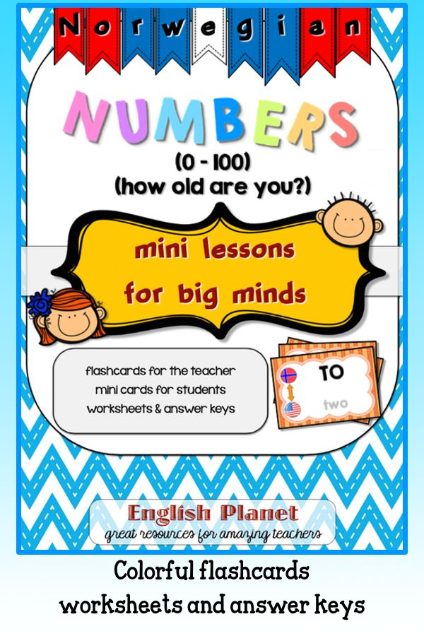 Teaching #Norwegian #numbers using #flashcards and #worksheets (Answer Keys included) - #TpT #minilessonsforbigminds