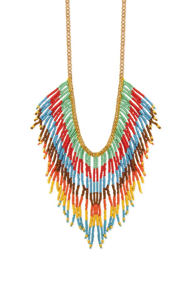 Bright Bead Fringe Necklace