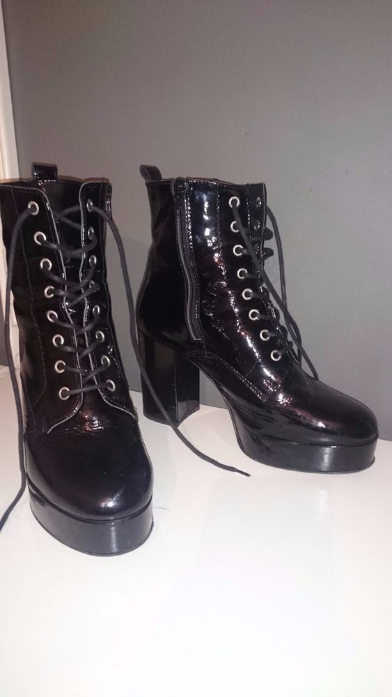 River Island Womens Black Patent Leather Chunky Heel Boots Size UK 6