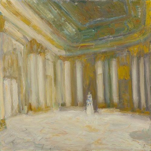 Ioana Batranu, Melancholic Interior, 2010-2011, oil on canvas, 200×200 cm, Margins, Galerie Plan-B, Berlin