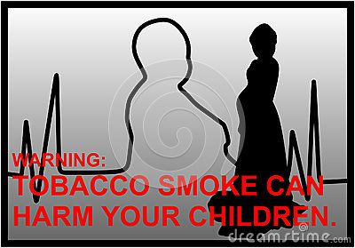 Vector anti-smoking warnings with EKG line, maternity and red text.
