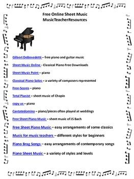 FREE sheet music online! Five pages of links!