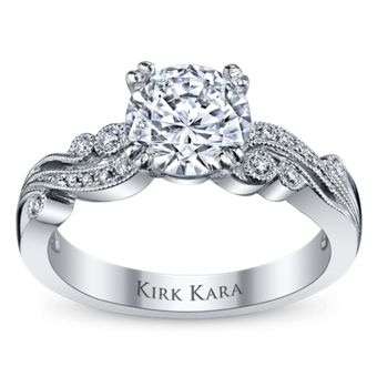Love this - wonder what it would look like in gold. Kirk Kara 18K White Gold Diamond Engagement Ring Setting