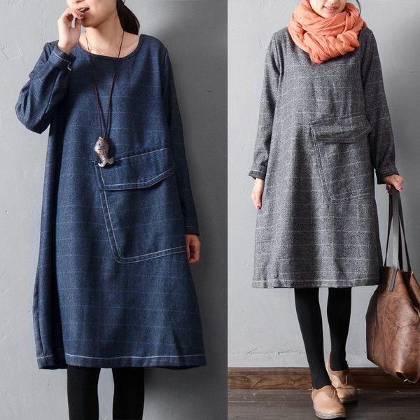 Plaid large pocket dress - Tkdress  - 1