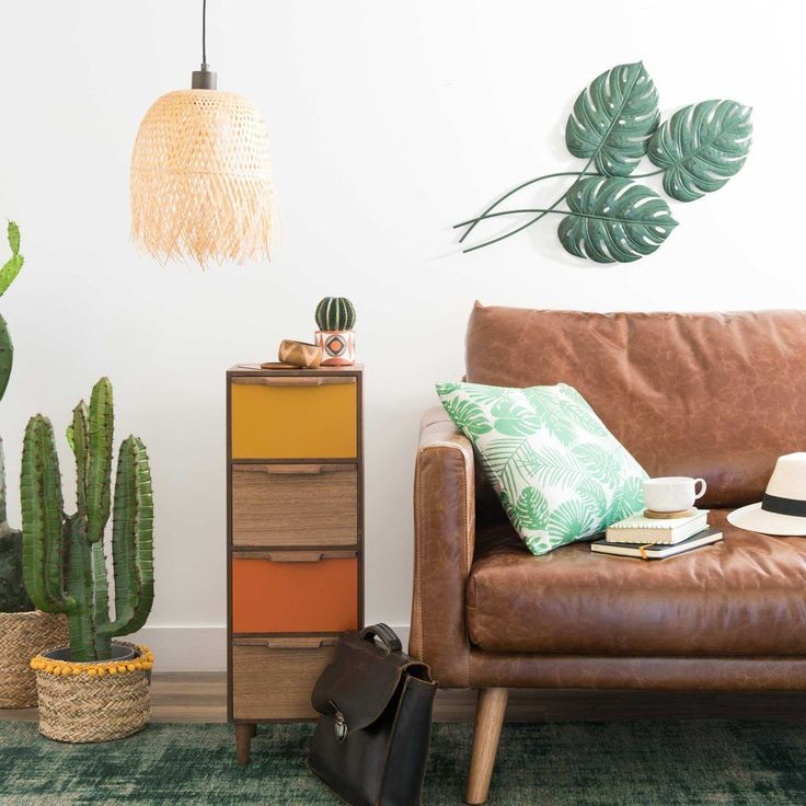 Small storage perfect for living room side tables | TANIA tricoloured 4-drawer storage unit | Maisons du Monde | Havana Nights
