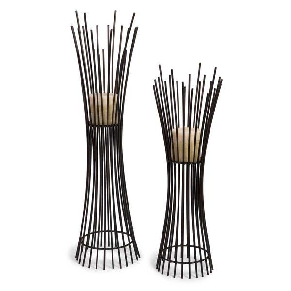 IMAX Metal Candleholder Duo. Set of Two Matching Iron Contemporary Candle holders with Dramatic Vertical Lines From Floor to Base.