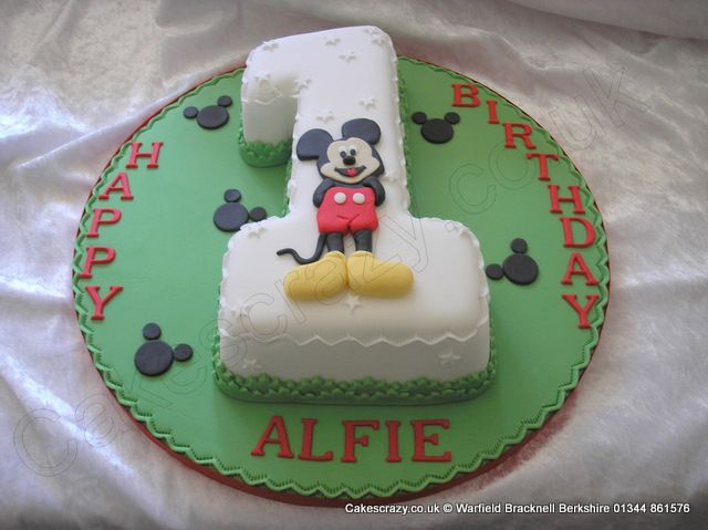 Number 1 Cake Mickey Mouse. Number one numerical shaped 1st birthday cake with applique Mickey Mouse