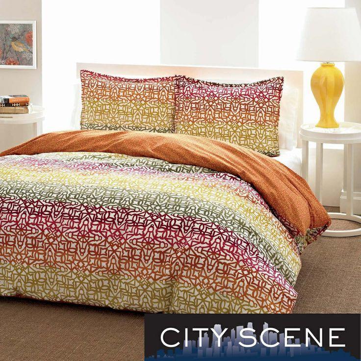 city scene fiesta stripe cotton 3piece duvet cover set by city scene - Comforter Covers