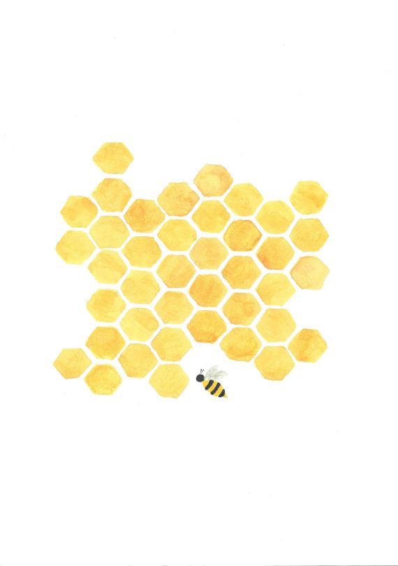 Original Printable painting yellow honeycomb bee nursery kitchen wall art