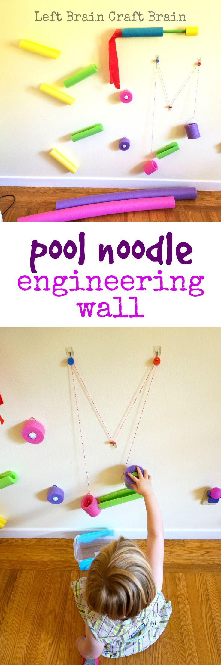 Inspire your young engineers with this fun pool noodle engineering wall. #ProjectAmazing #ad