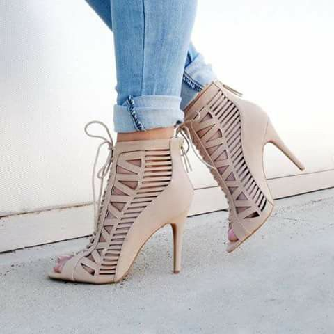 There is 1 tip to buy these shoes: heels nude heels high heels high heel  date outfit brunch girl jeans denim booties bootie gojane.