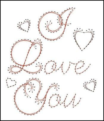 I Love You Sentiment Paper Embroidery Pattern for Greeting Cards
