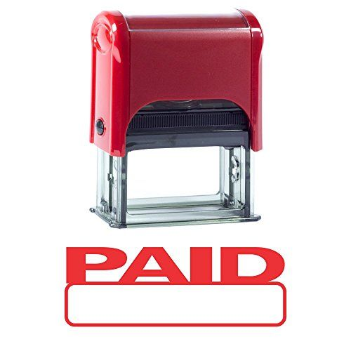 Basic PAID Self Inking Rubber Stamp (Red Ink) - Medium