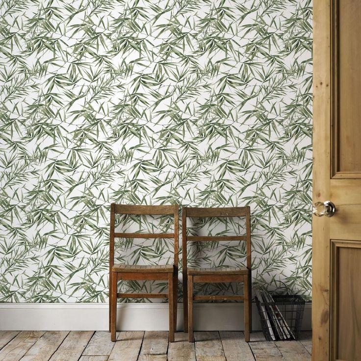 Superfresco Easy Papier Peint Support Intissé Feuilles De Bambou Vert Blanc 1005 X 52cm – Taille : Taille Unique